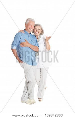 Portrait of a happy senior couple at white background