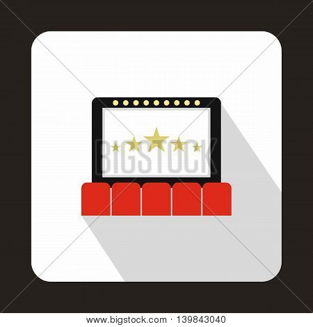Cinema auditorium with screen and seats icon in flat style on a white background