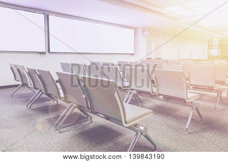 Empty seat in the airport with vintage toned.