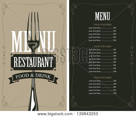 menu with fork for the restaurant in retro style with price