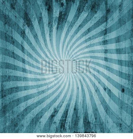 Grunge Blue Vintage Sunburst Swirl, Twirl Background Texture