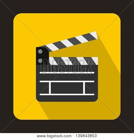 Open clapperboard icon in flat style on a yellow background