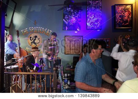 NEW ORLEANSLA/USA -03-21-2014:Band playing at the Spotted Cat bar on Frenchmen St in New Orleans Louisiana
