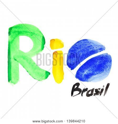 Rio, Brazil - watercolor text isolated on white