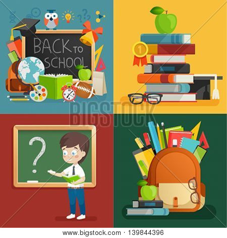 School theme set. Back to school, books, schoolboy, backpack and other elements. Vector illustration.