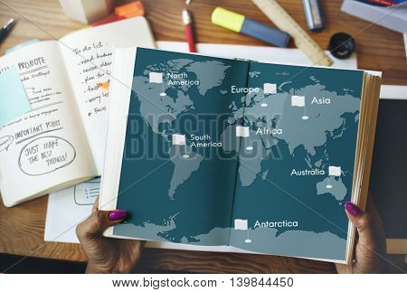 Location Destination Map Direction Journey Concept