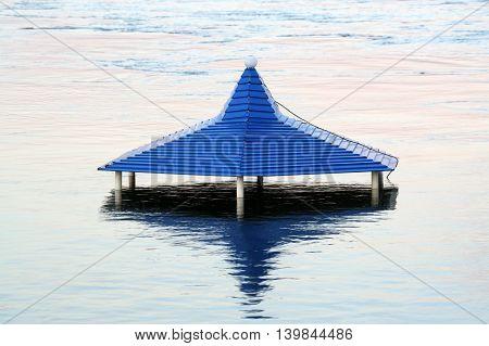 Blue roof pavilion sunken during the flood