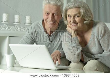 happy senior couple with laptop  at home
