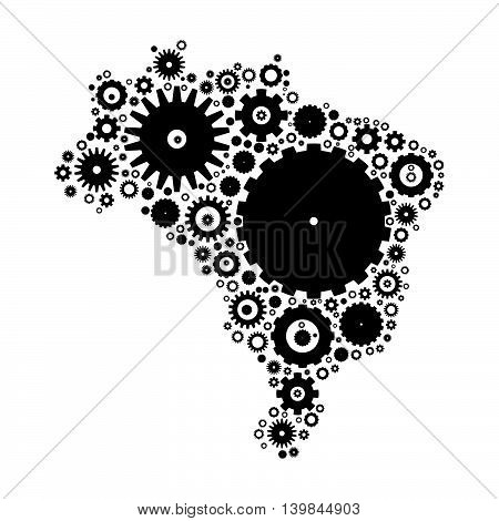 Brasil map silhouette mosaic of cogs and gears. Black vector illustration on white background.