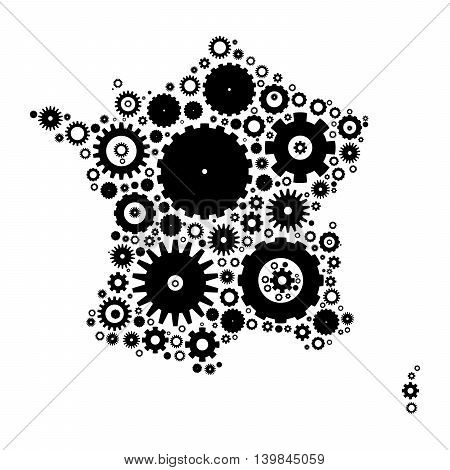 France map silhouette mosaic of cogs and gears. Black vector illustration on white background.