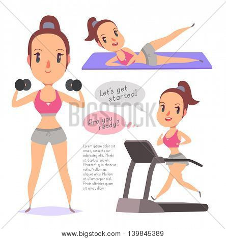 Active fitness girl lifts weights and exercises. Vector character illustration in different poses in cartoon style.