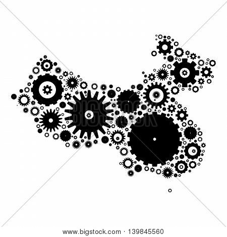 China map silhouette mosaic of cogs and gears. Black vector illustration on white background.