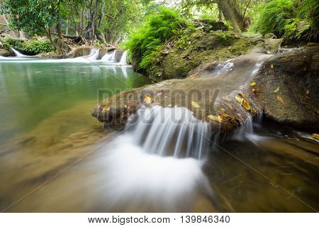 beautiful waterfall in national park in Thailand