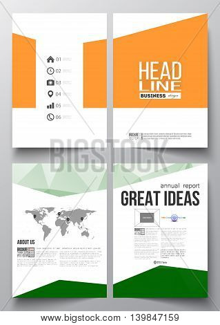 Set of business templates for brochure, magazine, flyer, booklet or annual report. Background for Happy Indian Independence Day celebration with Ashoka wheel and national flag colors, vector illustration.