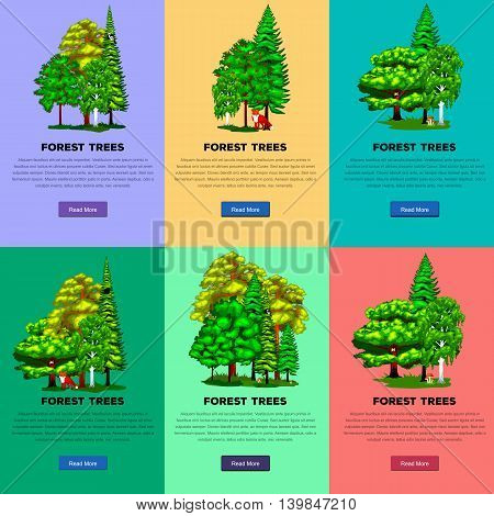 Wild forest trees, plants and animals vector set park. Outdoor trees in the park with branch, foliagles and leafs. Nature landscape design elements isolated with green trees, grass bush