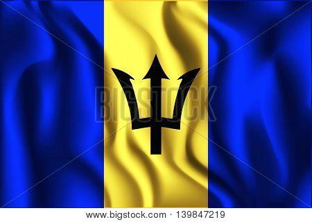 Flag Of Barbados. Rectangular Shape Icon