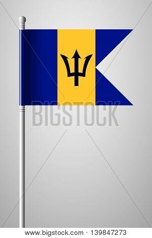 Flag Of Barbados. National Flag On Flagpole