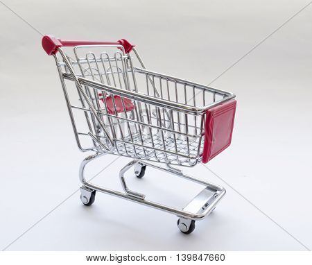 shopping cart with red details on white background