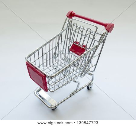 shopping cart on white background on white background