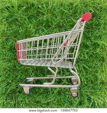 Background With Green Grass And A Shopping Cart, A Top View