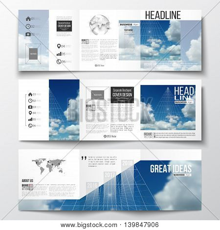 Set of tri-fold brochures, square design templates with element of world map and globe. Beautiful blue sky, abstract geometric background with white clouds, leaflet cover, business layout, vector.