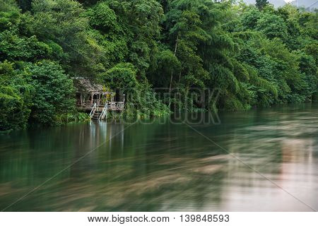 Nature view of River Kwai Landscape at sunset time Kanchanaburi Thailand