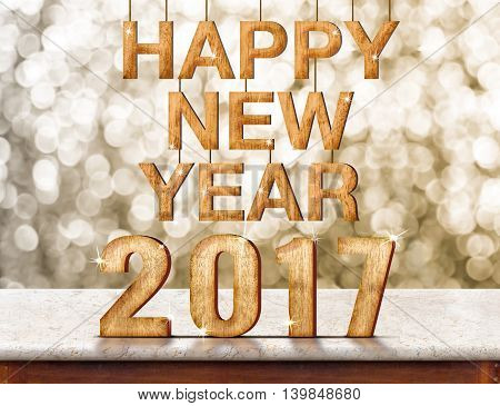 Happy New Year 2017 wood texture on marble table with sparkling bokeh wallHoliday concept(3d rendering)