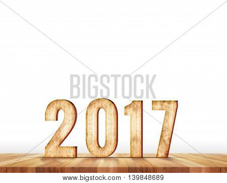 2017 year number in perspective plank table isolated on whiteLeave space for adding your own backgroundHoliday greeting card (3d rendering,3d illustration)