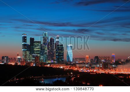 Moscow-city Russia. Moscow International Business Center. at twilight