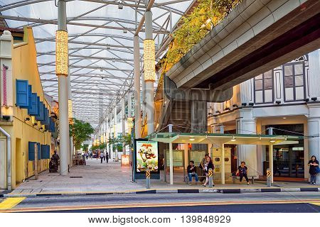 Bus Stop At South Bridge Road In Chinatown Of Singapore
