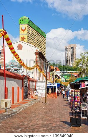 Chinatown Open Street Market Decorated With Red Paper Lanterns Singapore