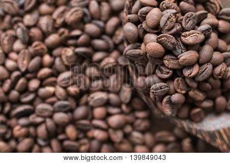 Coffee bean background in coffee shop put on table