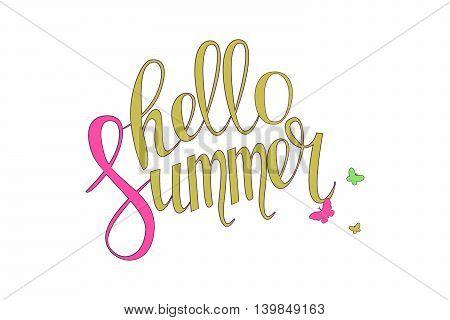 Brush Lettering Composition. Hello Summer