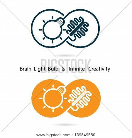 Brain and light bulb sign and infinite creativity logo elements design.Infinity sign.The best idea sign.Good idea logo.Business and education creative logotype symbol.Vector illustration