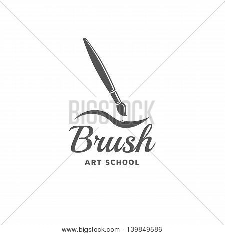 Brush vector logo template. Emblem with brush for painting.