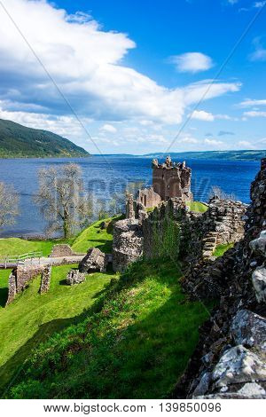 Remainings Of The Urquhart Castle In Loch Ness In Scotland