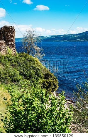 Remainings Of The Urquhart Castle In Loch Ness Of Scotland