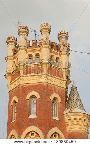 Water Tower in the Gothic style in St.Petersburg Russia.
