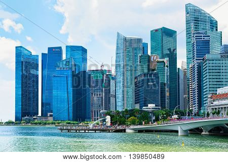 Skyline In Downtown Core At Marina Bay Financial Center Singapore