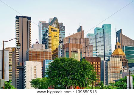 Skyline With Skyscrapers In Financial Center Of Singapore