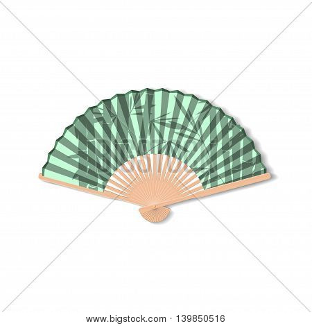 Fan for kabuki dance. Geisha accessories. Fan with the image of bamboo. Vector illustration