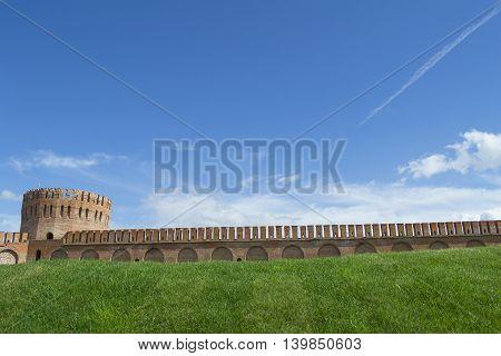 Smolensk Russia - September 02 2013 - Smolensk fortress wall with the Gorodetskaya tower (Eagle)
