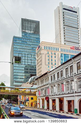 South Bridge Road In Chinatown In Singapore