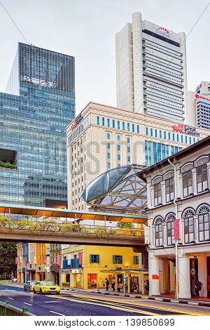 South Bridge Road In Chinatown Of Singapore