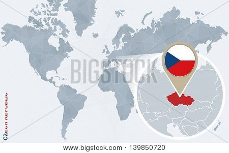 Abstract Blue World Map With Magnified Czech Republic.