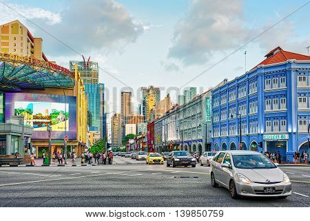 Upper Cross Street And Car Traffic Of China Town Singapore