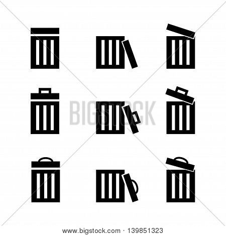 set of bin icon on white background