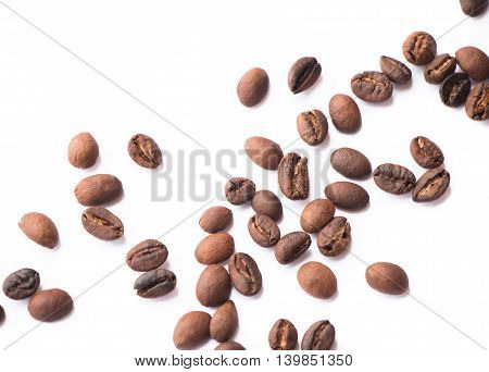 Abstract coffee beans isolated on white background