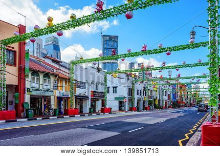 Singapore South Bridge Road Of Chinatown Decorated For New Year