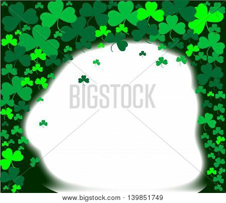 Green shamrock and Clover background border with copy space
